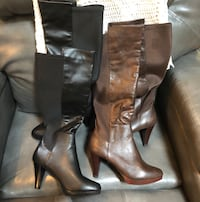 pair of brown leather knee-high boots Charlotte, 28269