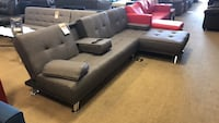 Black leather sectional sofa with ottoman Phoenix, 85008
