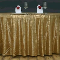 "Gold Sequin Tablecloth 108"" Round Mobile, 36695"