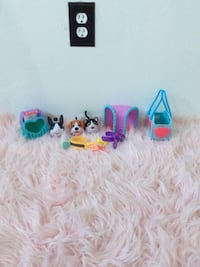 blue and pink dog and cat toys