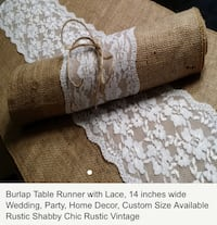 Brown and white burlap table runner with lace 56 km