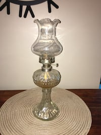 Clear glass base table lamp