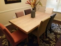 rectangular brown wooden table with four chairs dining set Locust Grove, 30248