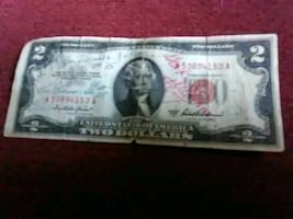 1953 two dollar bill signed by Viking superstars