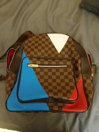 Blue and red louis vuitton damier ebene leather backpack