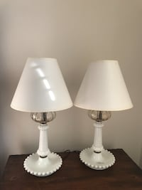 Pair of Bedroom Lamps (Milk Glass) Alexandria