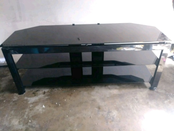 Used Bush Three Tier Plated Smoked Glass Tv Stand For Sale In Corpus