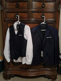 Navy blue vest and formal coat, white shirt