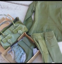Size 4  Green Leather Suit and Accessories $140 Las Vegas, 89117