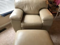 Tan leather sofa chair with ottoman Clinton, 20735