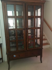 brown wooden framed glass display cabinet Hopkinton, 01748