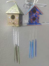 blue and gold bird cage hanging decor Edmonton, T6W 1A1