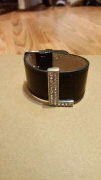 Black Faux Leather Bracelet W/ Letter 'L' Modesto, 95356