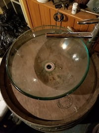 brown and gray rustic wooden barrel sink