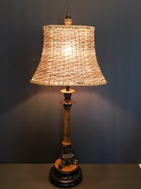 """Table Lamp:  Buffet-Style Lamp with Wicker Shade on Textured Tan, Bronze/Black Base 25 ¼"""""""