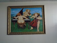 two brown wooden framed painting of woman VANNUYS
