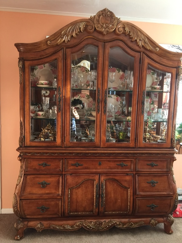 Used Brown Wooden China Cabinetdining Room Set Of 6 Chairs Two Ands Tables And Coffee Table For Sale In Fishkill
