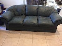 "Leather sofa and loveseat.  GUC smoke free/pet free home.  No rips or tears.  Smokey blueish grey color. Pick up Oviedo. Sofa approximately 90"". Love seat approximately 69"""