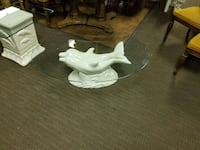 Used Oval Glass Top White Ceramic Dolphin Themed Coffee