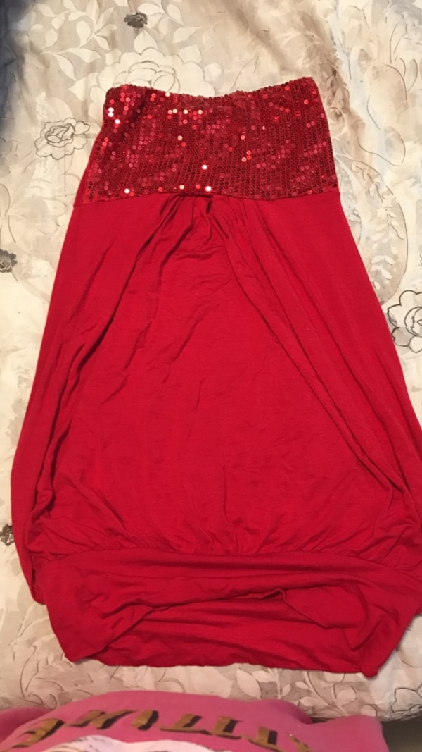 red sequined tube top dress