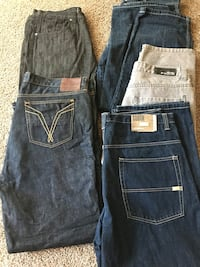 two blue and black denim bottoms Bakersfield