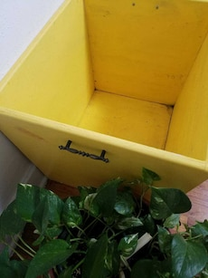 watermelon slice painted yellow wooden crate
