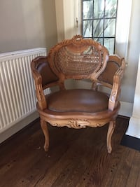 brown wooden framed brown leather  padded armchair Toronto, M5N 1X6