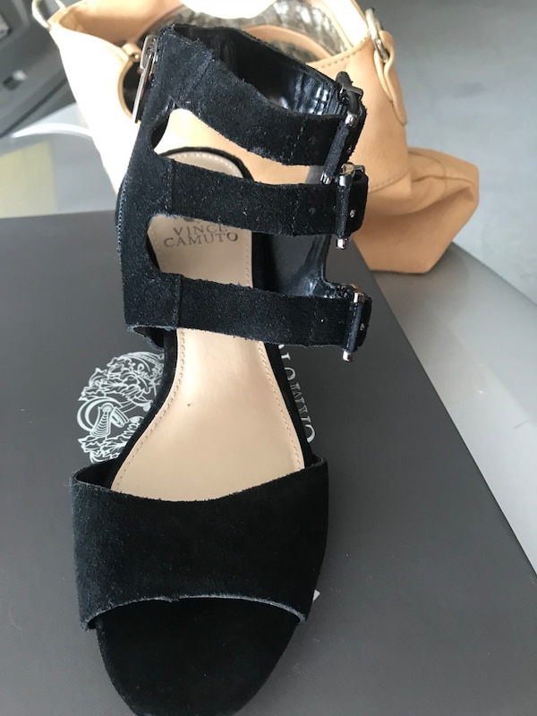 Black leather open-toe ankle-strap wedges b0dc911d-0429-44e0-bfce-0137895f8128