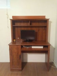 brown wooden computer desk with hutch Caledon, L7E 2K2