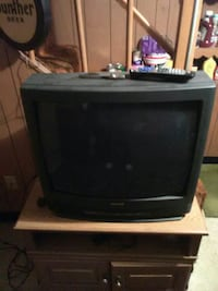 black Sanyo CRT TV with remote