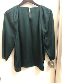 CECE DEEP FOREST GREEN SILKY SZ L TOP WOMENS blouse Toronto, M8W 3P3