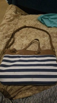 white and black stripe leather tote bag Kelowna, V1W 1M3