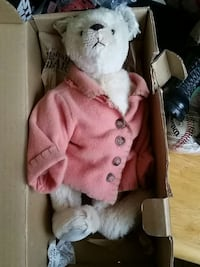 Boyds bear with pink button-up long-sleeved