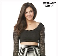 Bethany Mota Black Lace Crop Boat Neck Size Medium  Edmonton, T6J 2A9