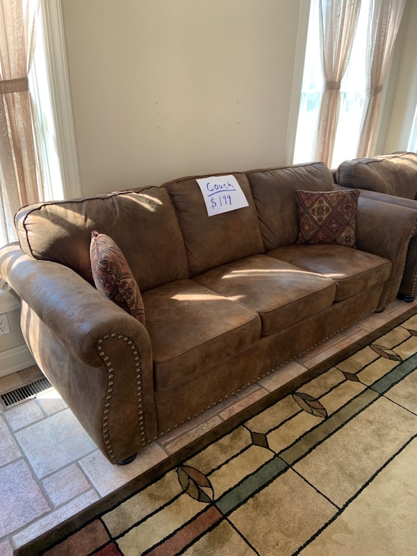 Used Dark Brown Microfiber Sofa with Nailhead Trim for sale in ...