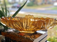 Large Carnival Glass Fruit Bowl in Marigold 30 km