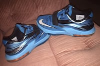 2014 NIKE KD VII 7 Clearwater Black Blue Kevin Durant Youth Size 6Y