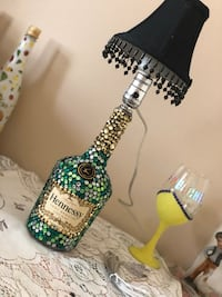Handmade Jeweled Hennessy bottle Lamp. With shade.