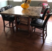 Rectangular brown marble top table