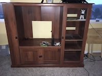 brown wooden TV hutch with flat screen television Bishop, 15321