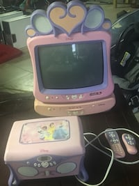 White and pink disney crt tv
