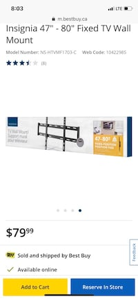 """Insignia 47"""" - 80"""" Fixed TV Wall Mount Toronto, M4Y"""