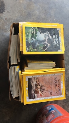 assorted National geographic books