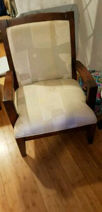 2 Brown Chairs. Wood. Padded. With armrests. Waldorf, 20603