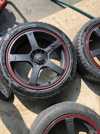 black 5-spoke car wheel with tire set Barrie, L4N 5X7