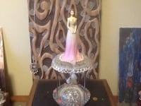 Pink girl with pearls on base and glass beach heart atop of vintage pieces Welland, L3C