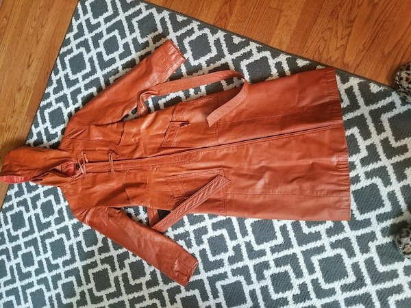 Vintage Winlit brown leather trench coat