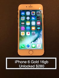 iPhone 6 Gold 16gb Unlocked $280 Centreville, 20120