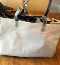 white and black leather tote bag Frisco, 75035