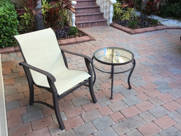 Astounding Patio Set Includes 2 Swivel Chairs Dining Table Side Chair And End Table Andrewgaddart Wooden Chair Designs For Living Room Andrewgaddartcom